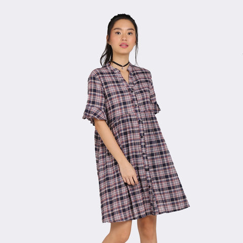 Heraposh Dresses Yoona Plaid Tent Dress