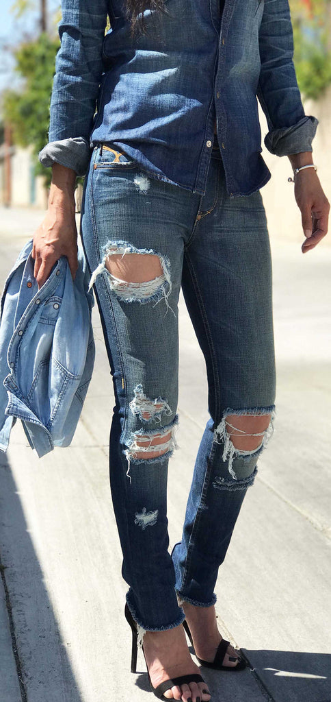 DESTROYED SKINNY JEANS -WOMEN'S
