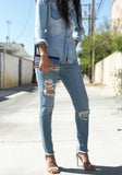DISTRESSED & DESTROYED SKINNY JEANS WOMEN'S - STEP HEMLINE