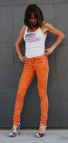 Color Skinny Jean's, Color Denim Orange Color Skinny Fit Jean's