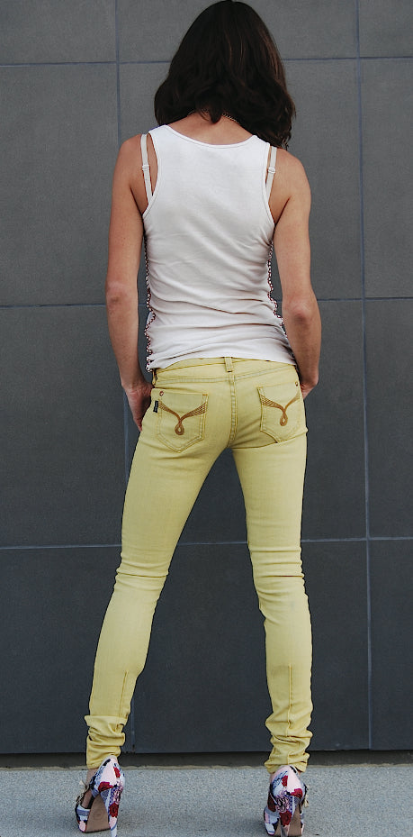 Color Skinny Jean's, Color Denim (Yellow Color Skinny Fit Jean's)
