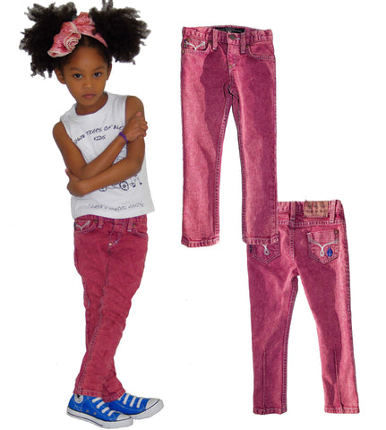 Kids Skinny Jean Unisex -  Plum Red