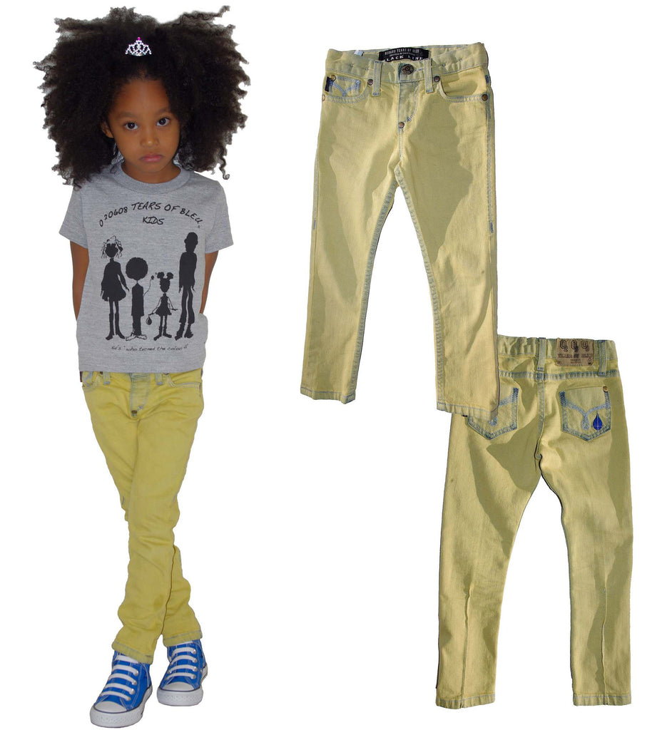 Kids Slim Skinny Jean Unisex - Yellow