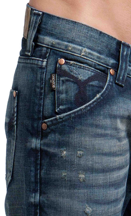 Men's Straight Jean's, Miles  - Blue Crator Wash