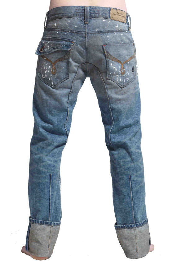 Men's Straight Fit Premium Turn Up Jean's, Miles - DOUBLE STAR