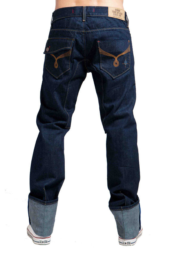 Men's Straight Fit Premium Turn Up Jean's, Miles - RINSE