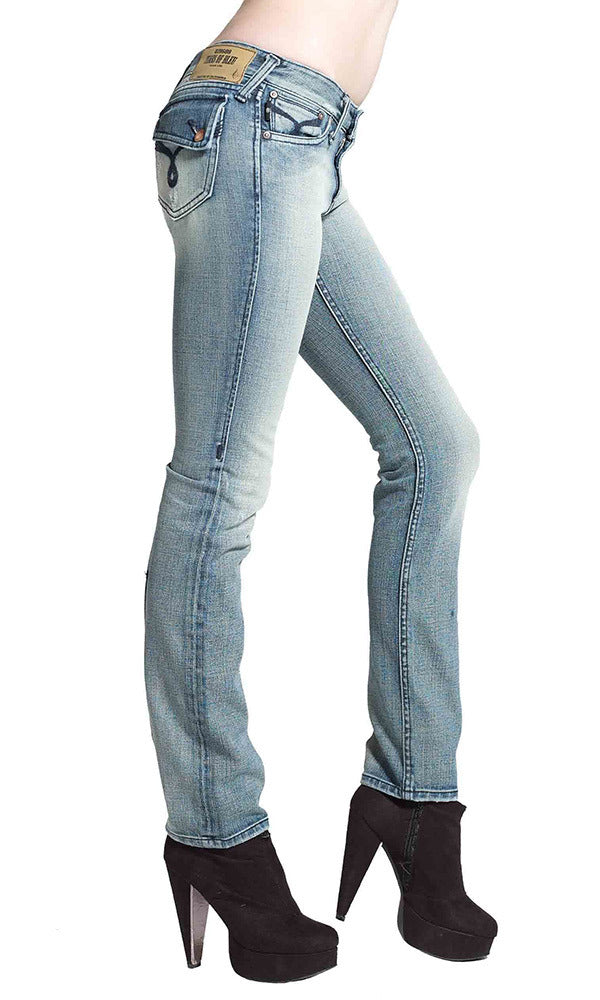 JUNE STRAIGHT LEG WOMENS JEAN MID RISE - Gas Wash
