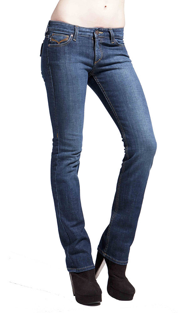 JUNE STRAIGHT LEG WOMENS JEAN MID RISE - Dark Moon Wash