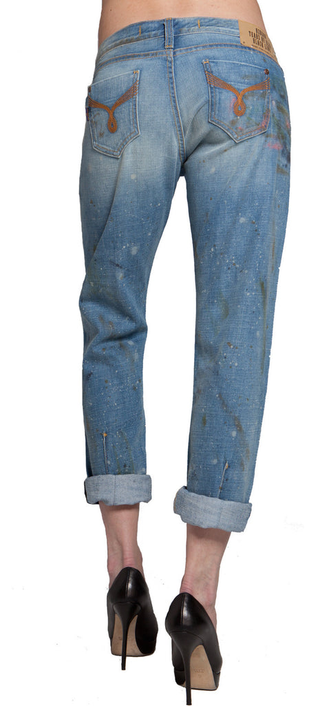 WOMEN'S BOYFRIEND JEAN  - PATRICIA BOYFRIEND FIT JEAN MID RISE - PAINT DROP WASH