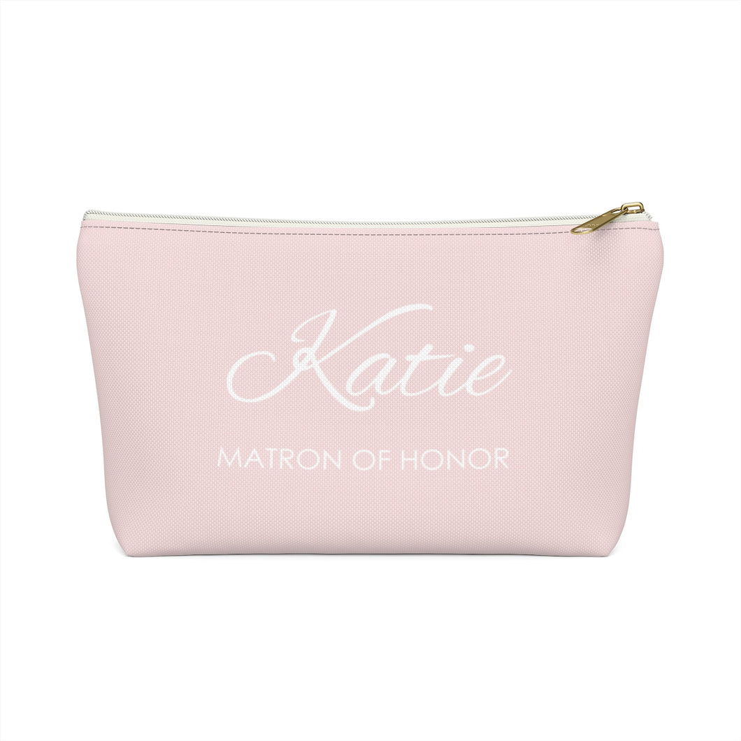Personalized Matron Of Honor Makeup Bag - Blush & White