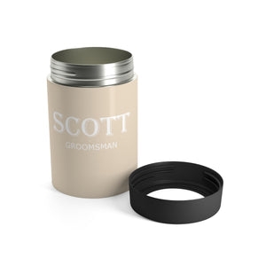 Personalized Groomsman Stainless Steel Can Holder - Beige & White