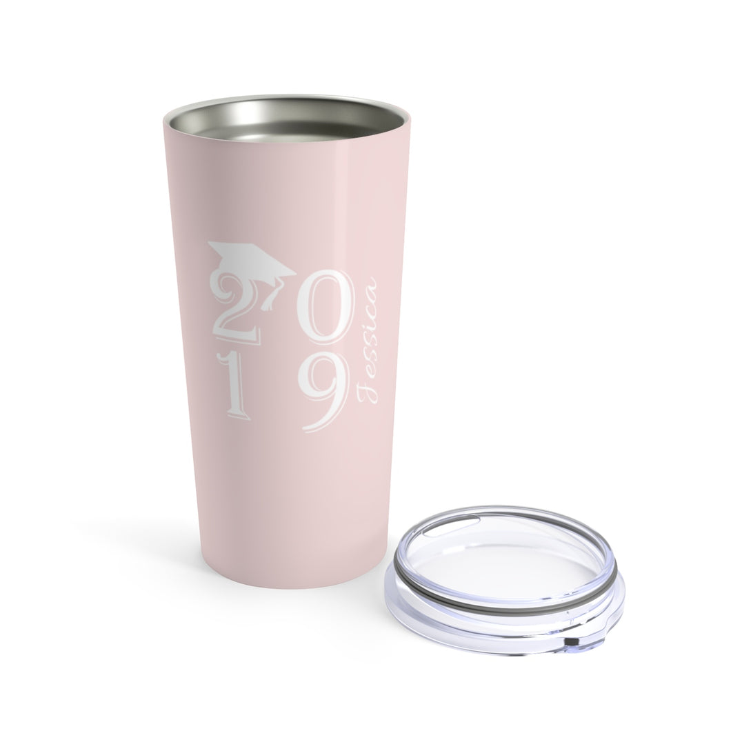 Personalized Class Of 2019 20oz Tumbler - Blush & White