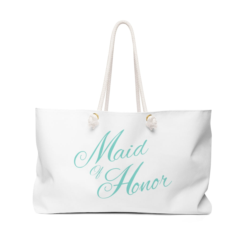 Maid Of Honor Weekender Tote Bag - White & Tiffany Blue
