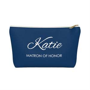 Personalized Matron Of Honor Makeup Bag - Navy & White
