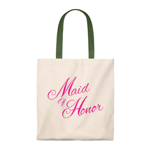 Canvas Maid Of Honor Tote Bag - Hot Pink