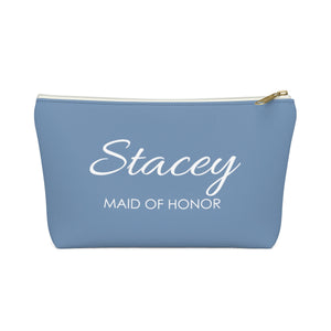 Personalized Maid Of Honor Makeup Bag - Cobalt & White