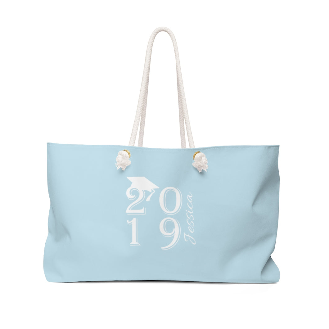 Personalized Class Of 2019 Weekender Bag - Light Blue & White