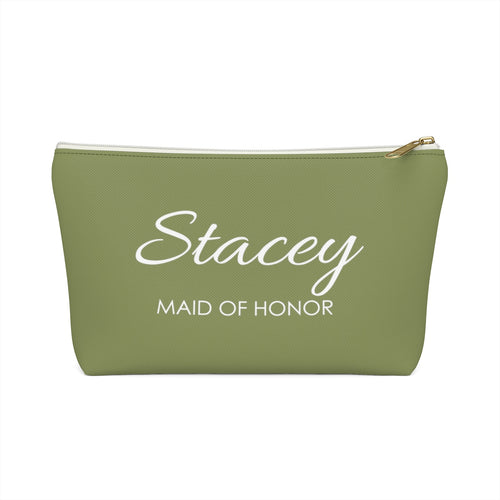 Personalized Maid Of Honor Makeup Bag - Moss & White