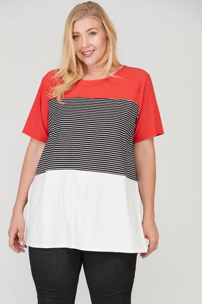 Color Block Slitted Knit Top