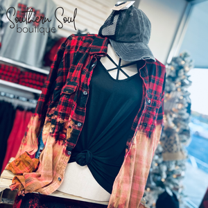 Buffalo Plaid Distressed Flannel - Southern Soul Boutique Monroe NC
