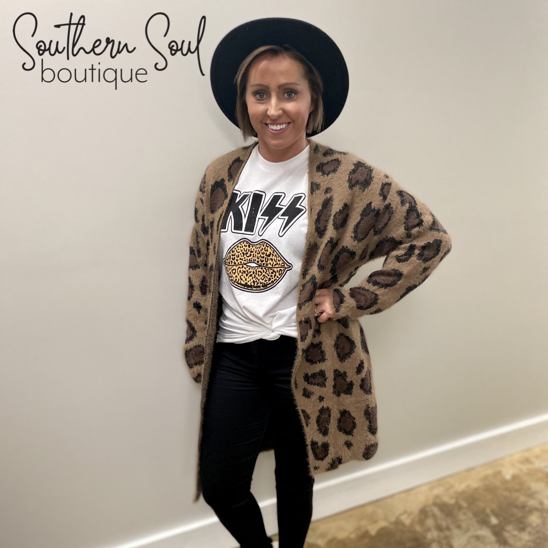 Fuzzy Animal Print Cardigan