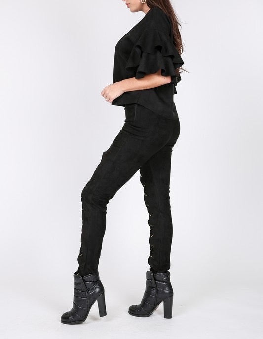 Lace Up Faux Suede Skinny Pants