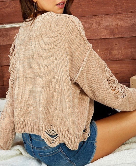 Distressed Chenille Sweater Top