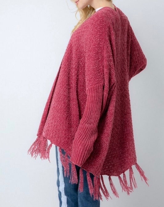 Knit Raspberry Fringe Cardigan
