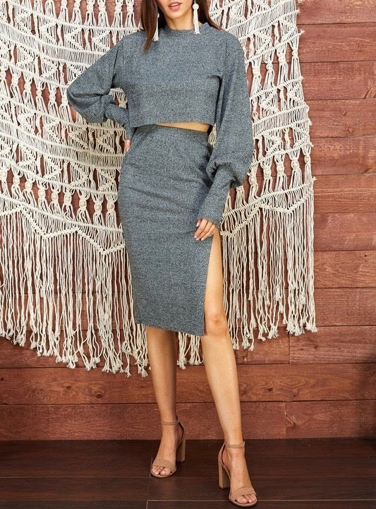 Ribbed Two Piece Skirt & Top Set