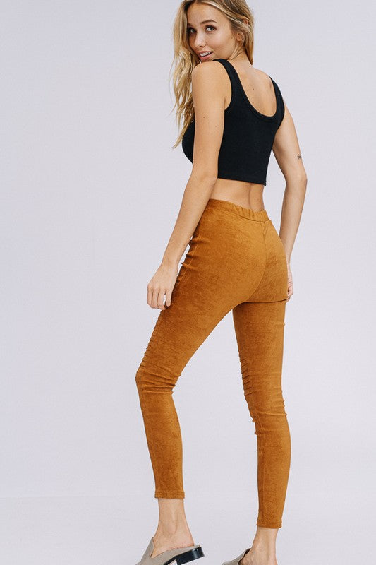 Faux Suede Moto Leggings