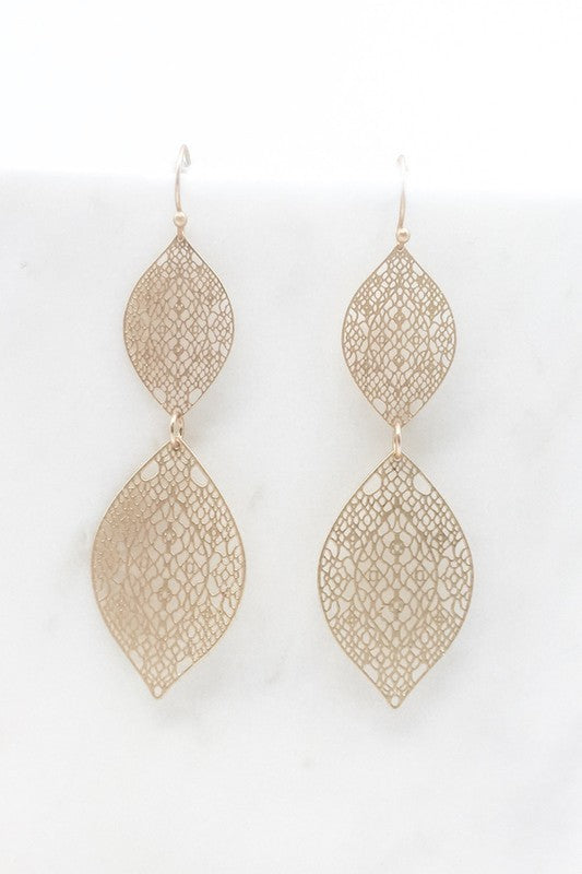 Matte Filigree Double Marquis Drop Earrings