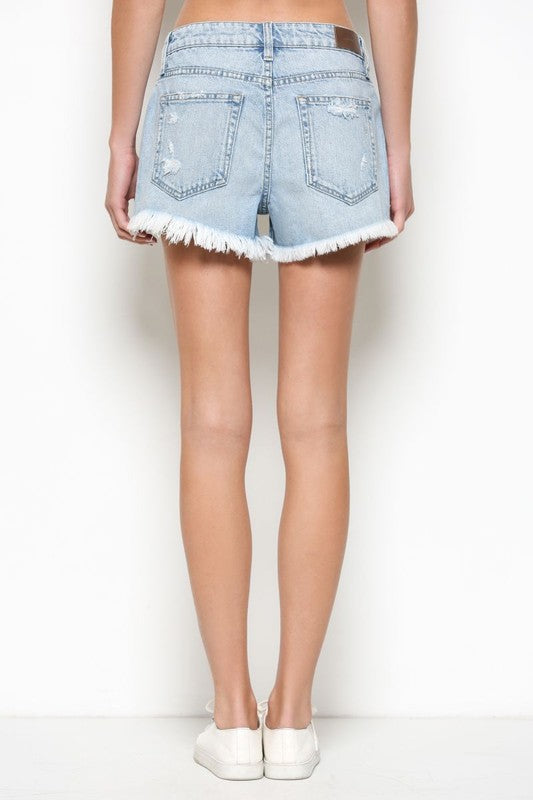 Light Wash High Rise Mom Shorts