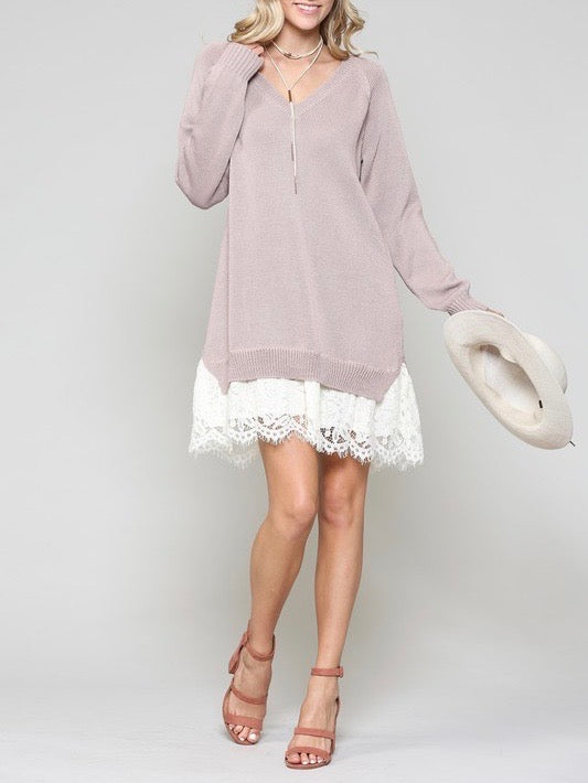 Lace Trim Sweater Dress