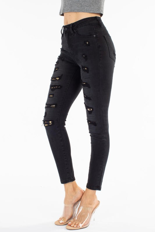 Mid Rise Slashed Dark Wash Jeans