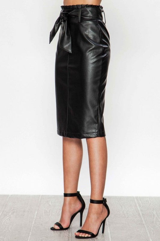 Faux Leather Pencil Skirt