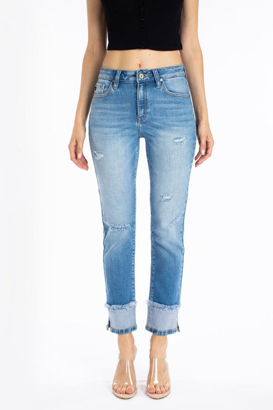 High Rise Light Wash With Cuff Jeans