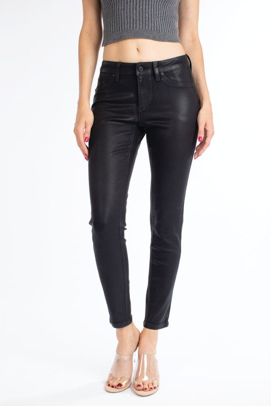 Black Coated Denim Skinny Jeans