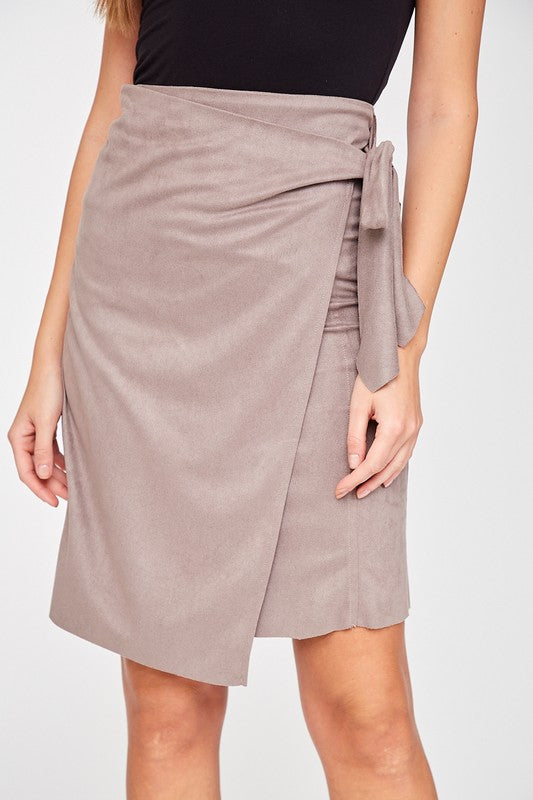 Faux Suede Wrap Skirt
