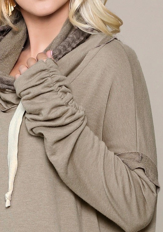 Oversized Cowl Neck Tunic Top