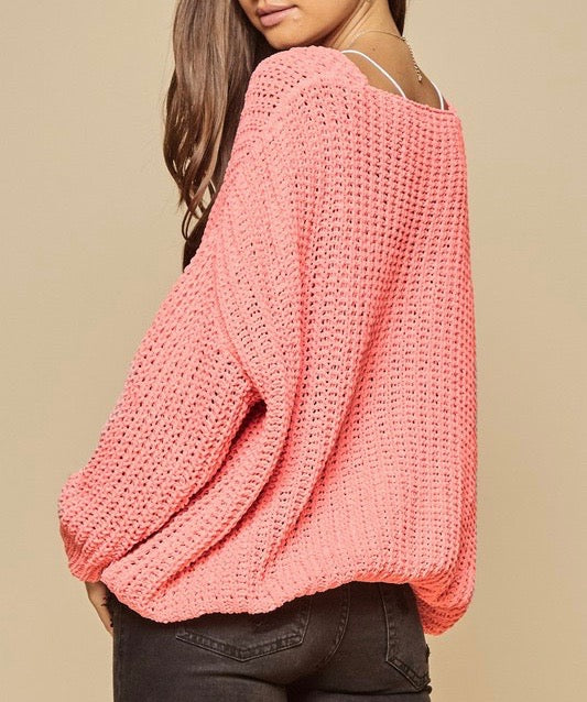 Bubble Gum Knit Sweater Top