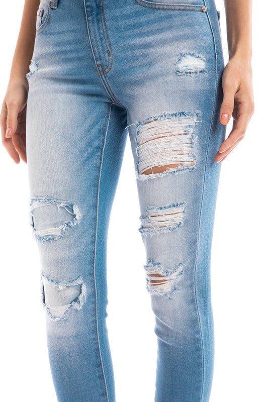 Patches & Distressed Double Fold Jeans
