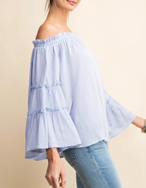 Baby Blue Off Shoulder Top