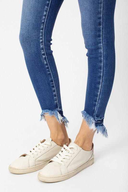 High Rise Frayed Skinny Jeans
