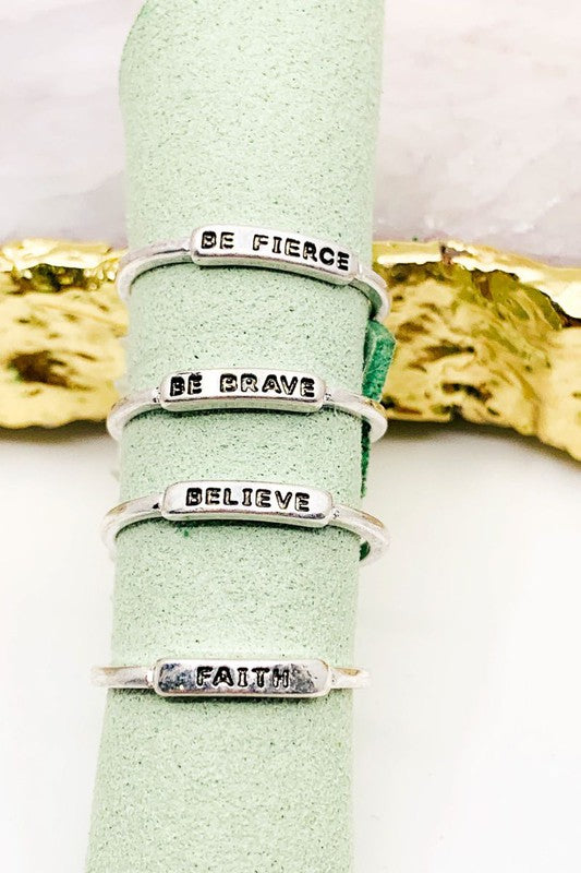 Fierce, Be Brave, Believe, Faith Ring Set
