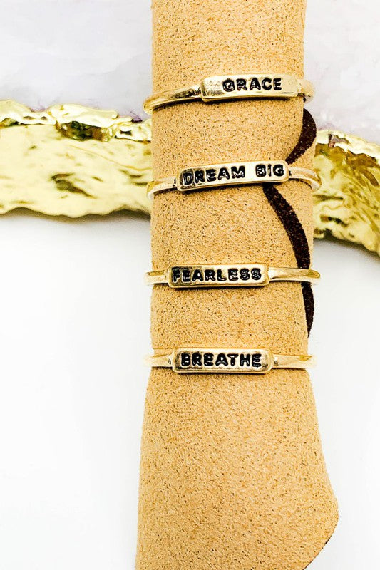 Grace, Dream Big, Fearless, Breather Ring Set