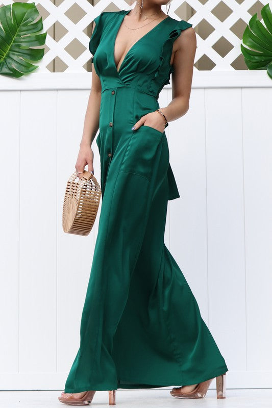 Deep V-Neck Maxi Dress