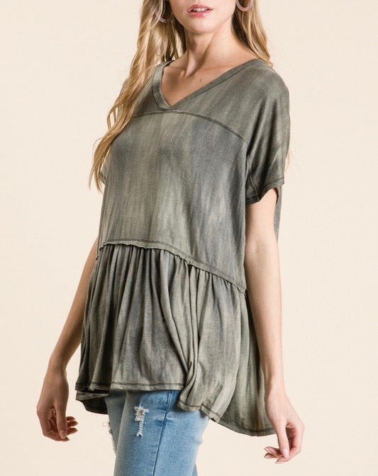Olive Washed Top
