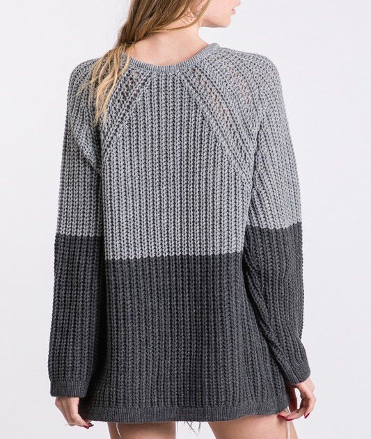 Two-Tone Knit Sweater Top