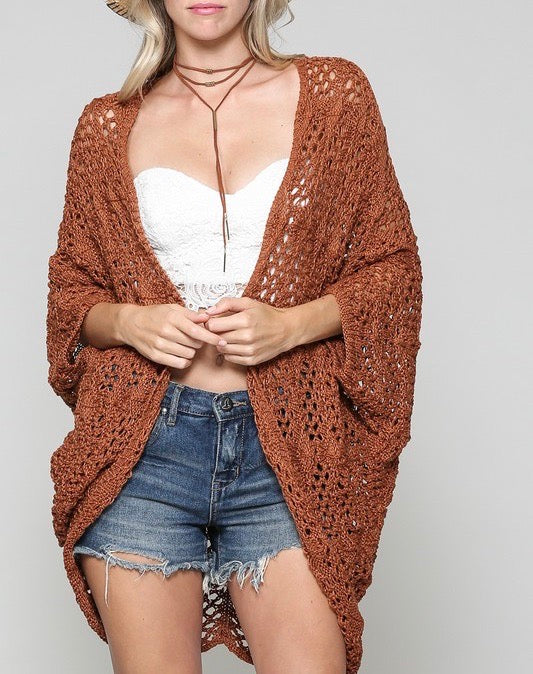 Crochet Knit Open Front Cardigan