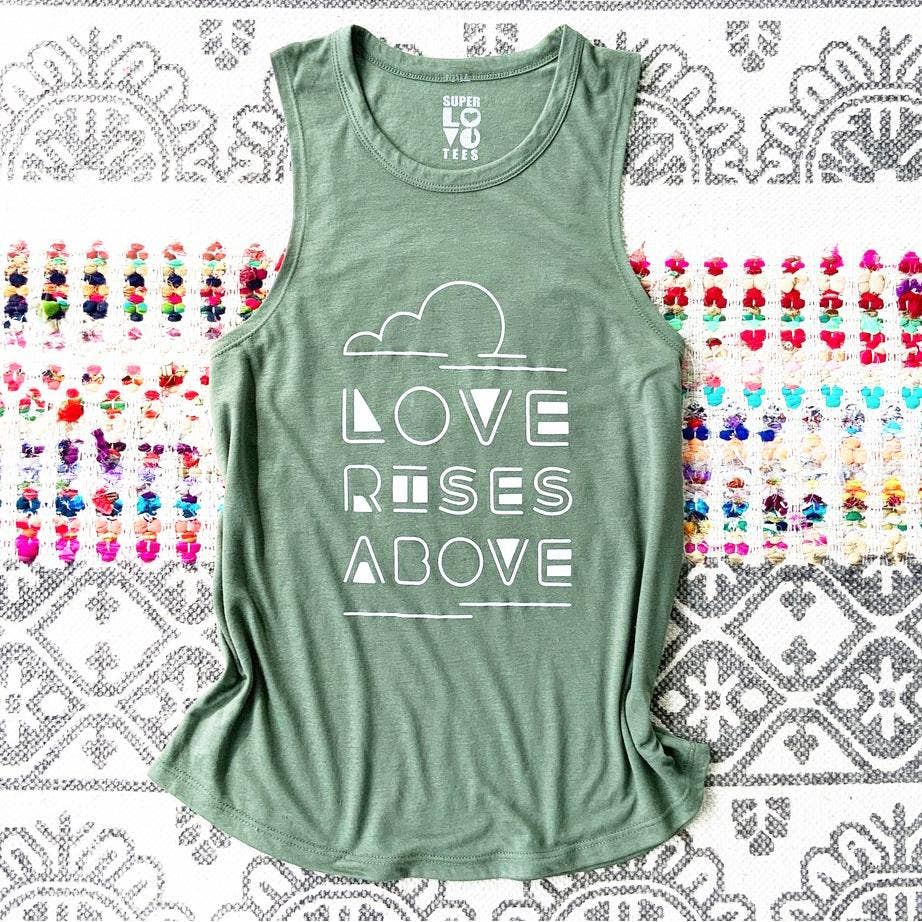 Love Rises Above Graphic Muscle Tee